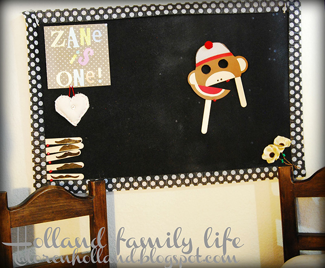 Sock monkey party photo booth (using a free printable template!)