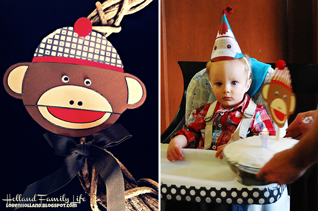 Sock monkey birthday party (using a free printable template!)