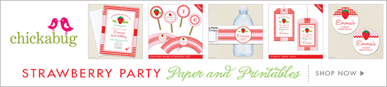 Chickabug strawberry theme party paper goods & printables