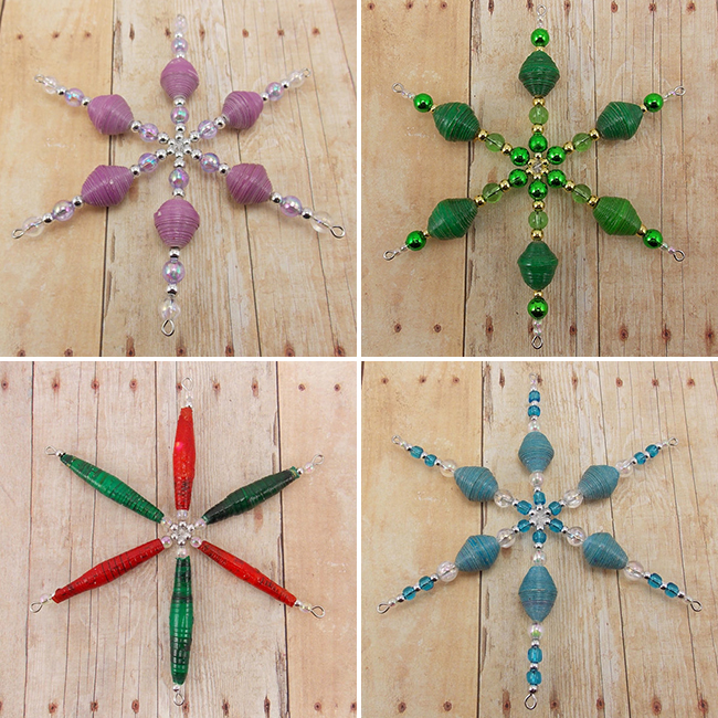 Christmas ornaments made using fair trade Rwandan paper beads - DeederTheBeader.etsy.com