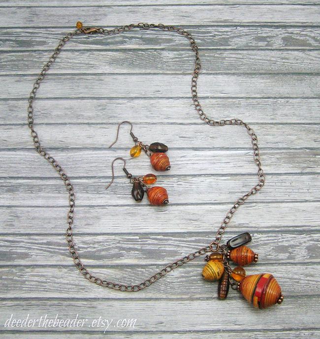 Jewelry made using fair trade Rwandan paper beads - DeederTheBeader.etsy.com