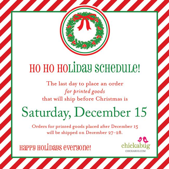 Holiday Shop Schedule Chickabug