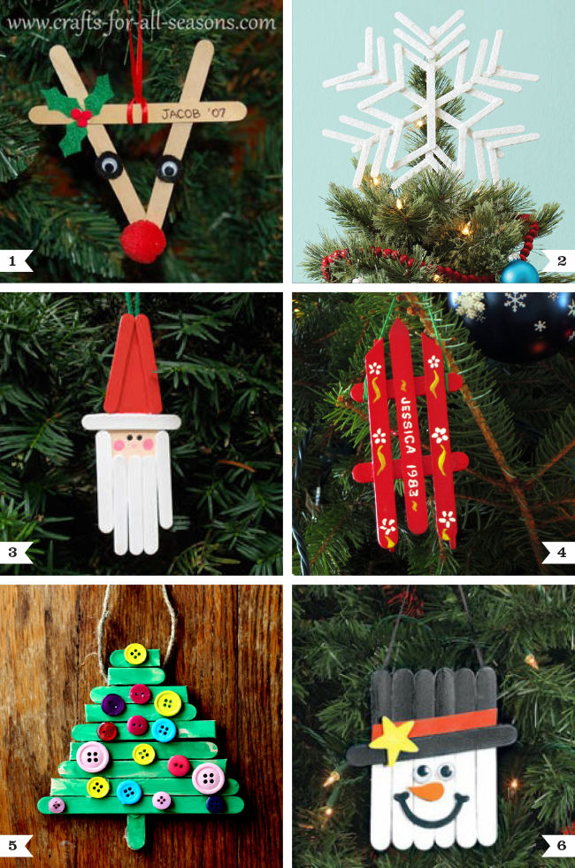 Diy popsicle stick ornaments plus a tree topper too for Christmas tree decorations you can make at home