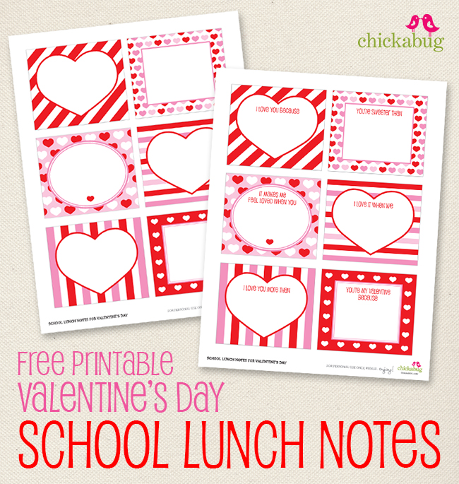 Free Printable Valentineu0027s Day School Lunch Notes (or Love Notes!) From  Chickabug