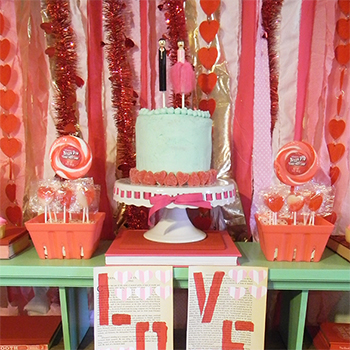 Book of Love party cake display