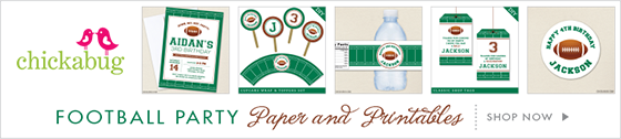 Chickabug football theme party stickers, water labels, and printables