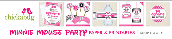 Minnie Mouse theme paper goods & printables from Chickabug