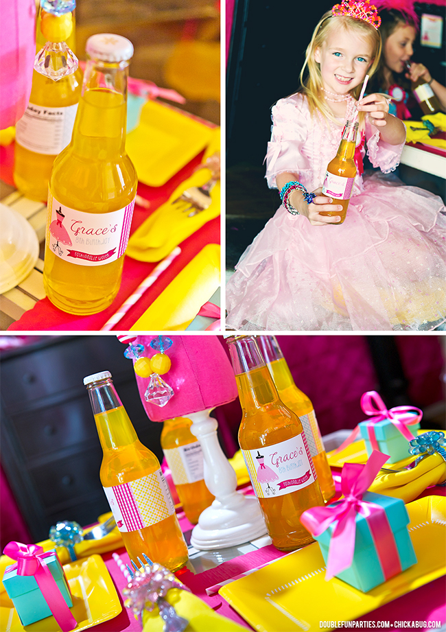 Dress-Up theme party by Double The Fun Parties - water bottle labels from Chickabug