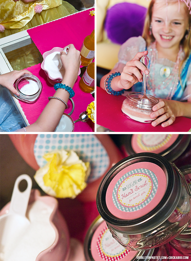 Dress-Up theme party by Double The Fun Parties - Making sugar scrub! - Printables from Chickabug