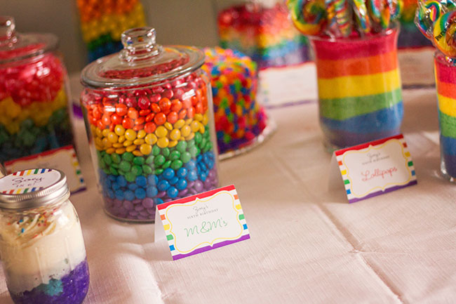 Rainbow M&M's and colored sugars layered in jars - for a rainbow party or St. Patrick's Day!