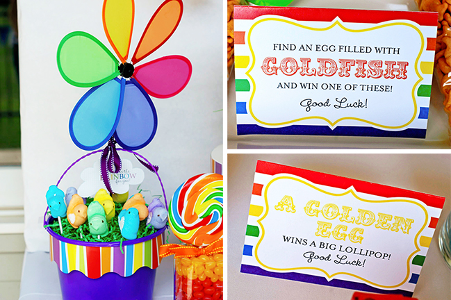 Rainbow Easter party! Printable signs from Chickabug