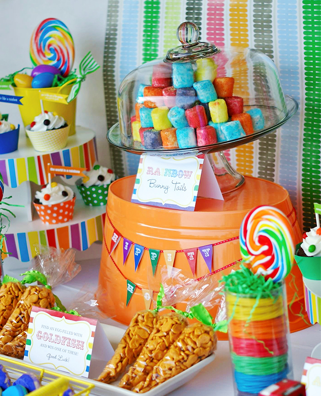 Gorgeous rainbow Easter party table! With printables from TomKat Studio and Chickabug