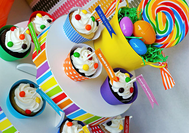 Rainbow Easter party cupcake display