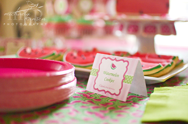 Watermelon party cookie display featuring Chickabug printables