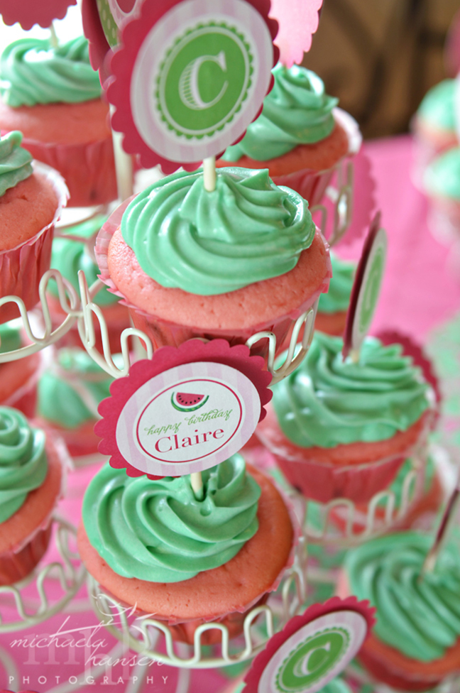 Watermelon party cupcakes with Chickabug printables
