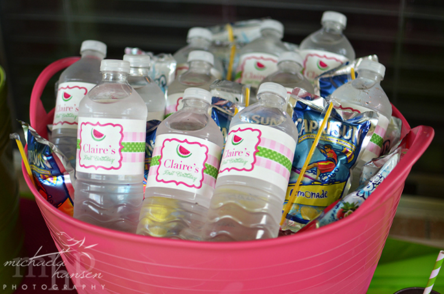 Watermelon party drinks featuring Chickabug water bottle labels