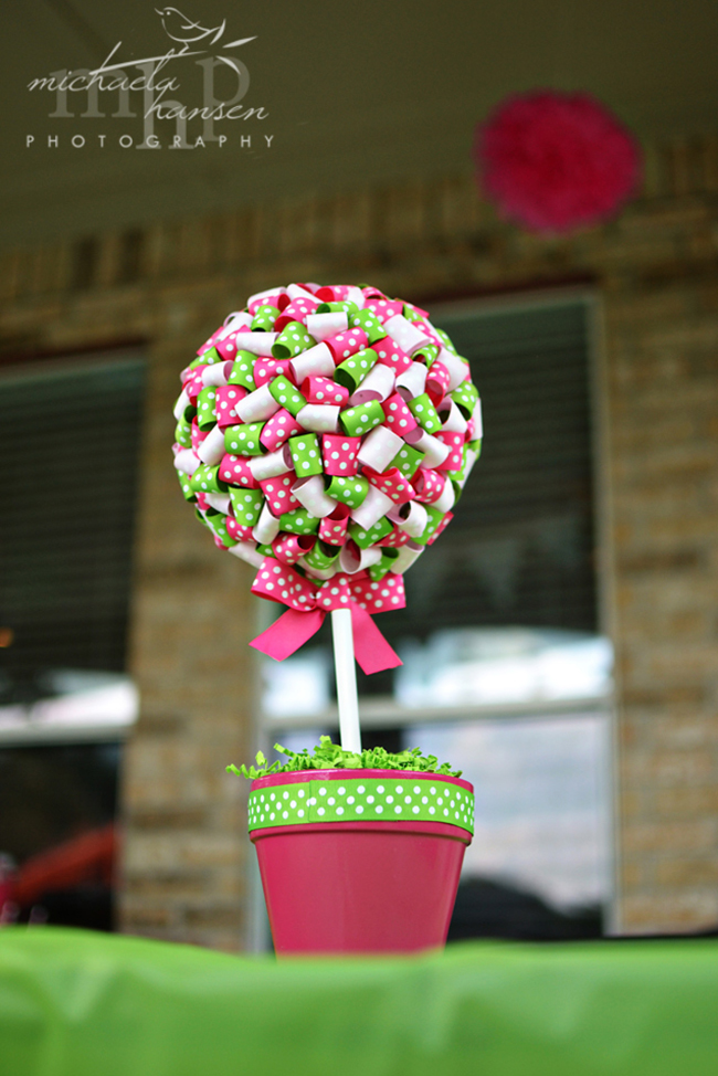 Watermelon party - ribbon topiary