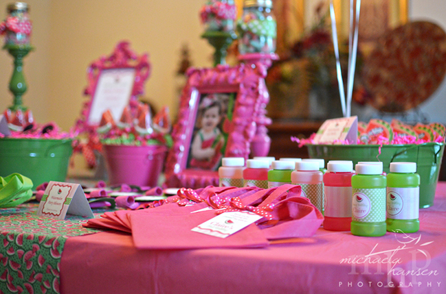 Watermelon party goodie bag table featuring Chickabug printables