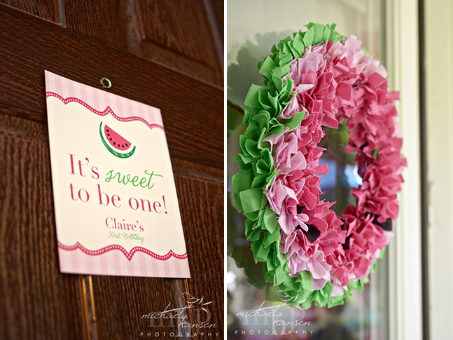 Watermelon party sign from Chickabug & watermelon wreath