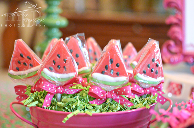 Watermelon lollipops!