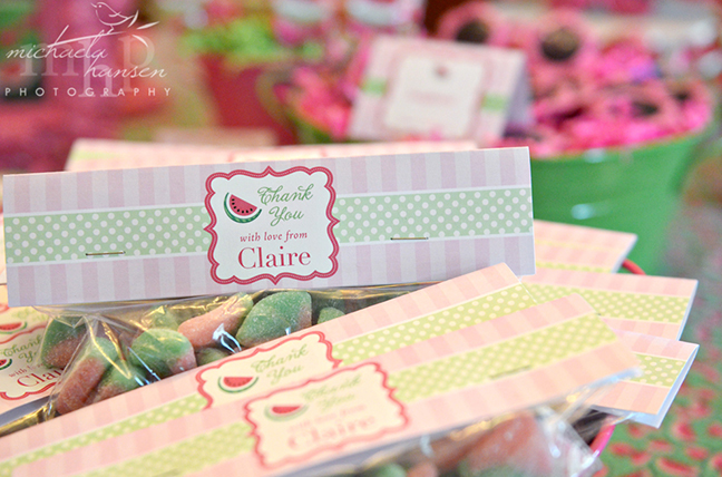 Watermelon party treat bags featuring Chickabug printables