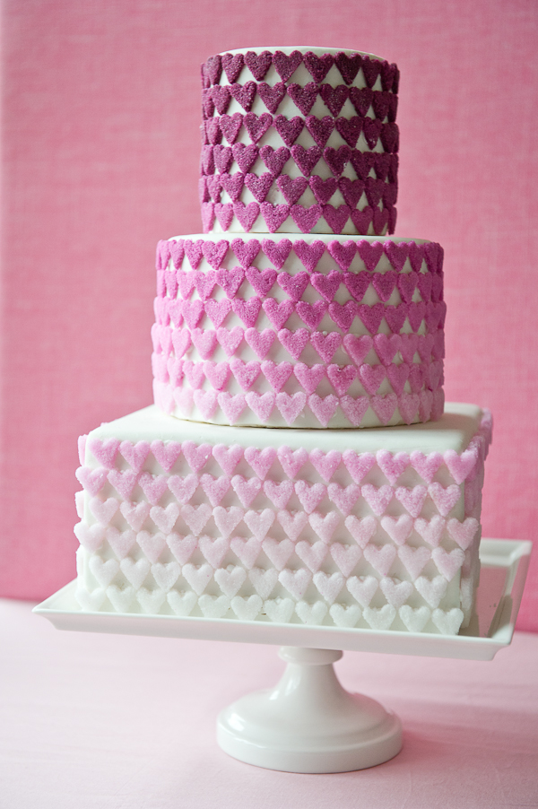 DIY ombre sugar hearts on a fab three-tier cake!