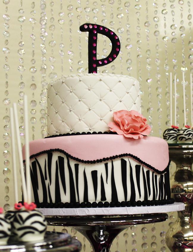 Sparkly zebra baby shower - zebra cake!
