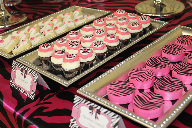Sparkly zebra baby shower