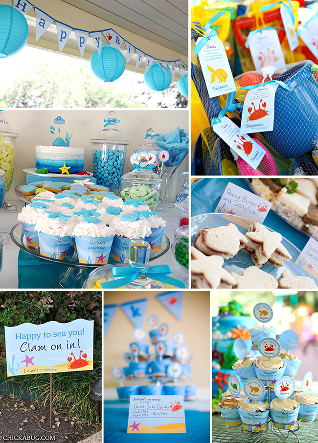 Under the Sea printable birthday party decor kit – over 45 pages of fun designs from Chickabug!