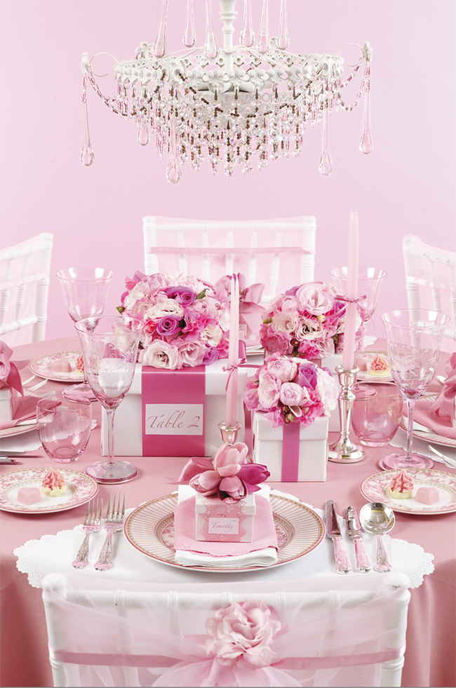 One pretty pin glamorous pink party table chickabug Party table setting decoration