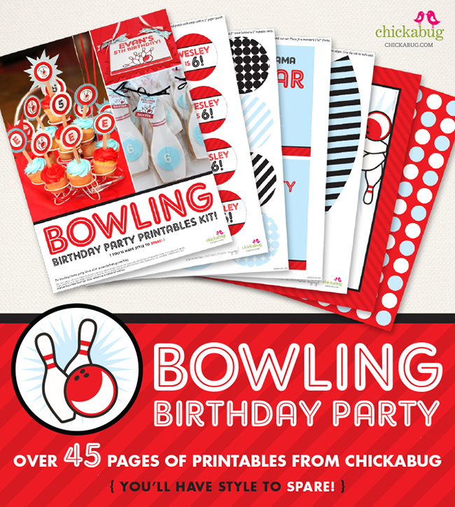 Bowling birthday party printable decor kit - Over 45 pages of fun printables. Everything you need to decorate for a bowling party!