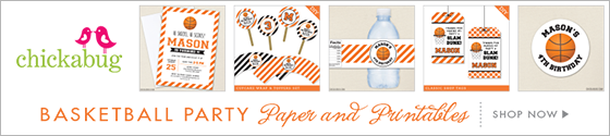Basketball theme party paper goods and printables from Chickabug - www.chickabug.com