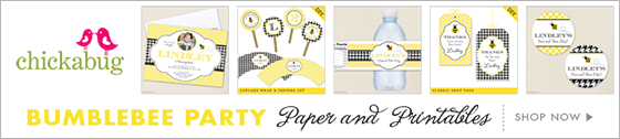 Chickabug bumblebee theme paper goods & printables