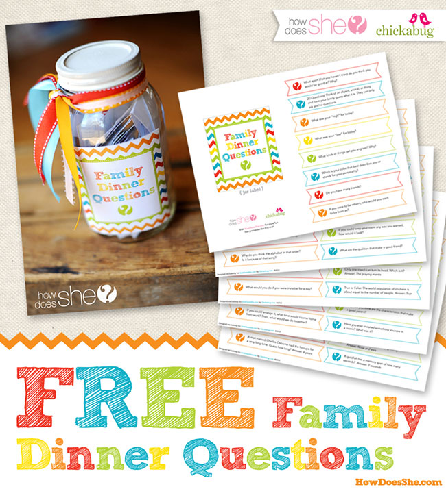 FREE printable family dinner questions - over 180 get-to-know-you questions plus fun trivia to ask your kids!