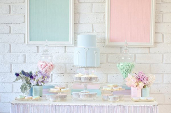 Pastel Valentines Day Party Dessert Table