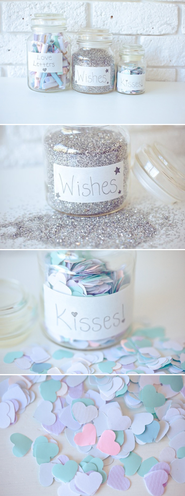 Valentine's Day Jars - Love Letters, Wishes & Kisses
