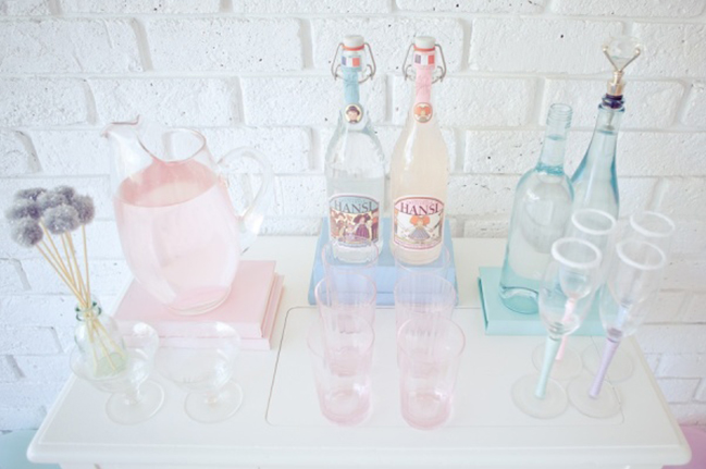 Pastel Valentines Day Party Drink Table