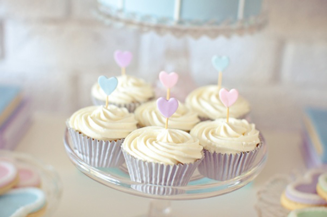 Pastel Valentines Day Party Cupcake Display