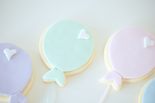 Pastel Valentines Day Party Balloon Cookies