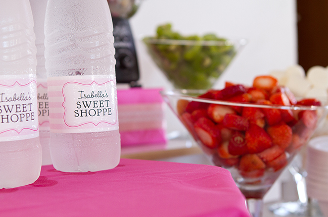 Sweet shoppe 1st birthday party - water labels from Chickabug