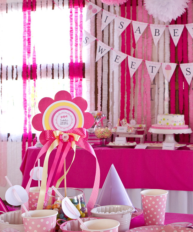Sweet Shoppe first birthday party - printables from Chickabug