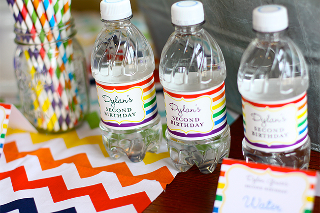 A gorgeous rainbow birthday party! - Water labels from Chickabug