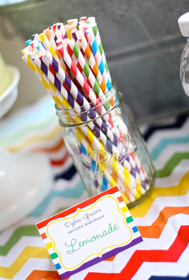 A gorgeous rainbow birthday party! - Printables from Chickabug, paper straws from Party Delights