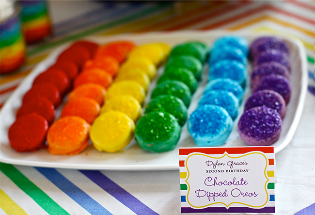 Rainbow party! Chocolate dipped Oreos in every color of the rainbow