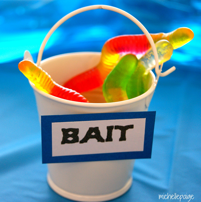 "Buckets of jelly worm ""bait"" for a goldfish party"