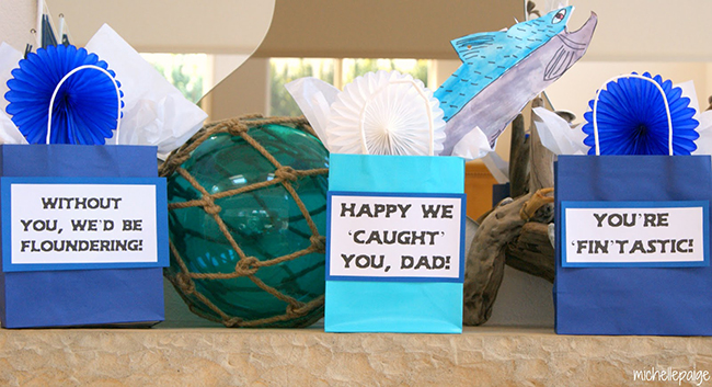 Father's Day Party fishing gift bags