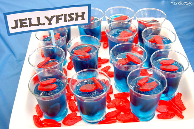 Jellyfish jello cups for a goldfish party