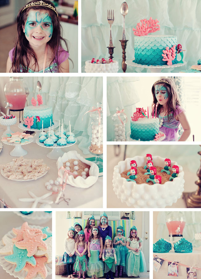 Ariel inspired mermaid party halle is 7 chickabug for Ariel decoration party