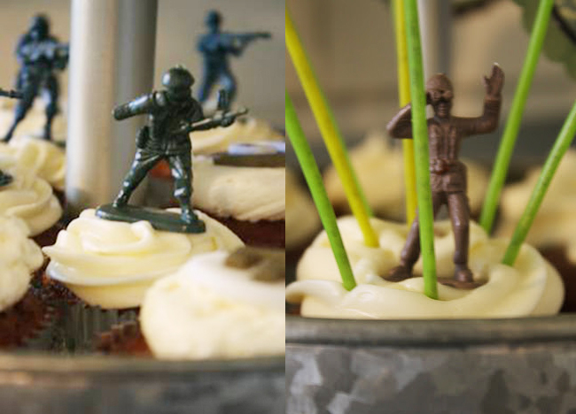 Army theme birthday party cupcakes