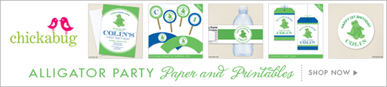 Alligator theme party paper goods and printables from Chickabug - www.chickabug.com